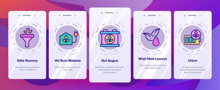 Biofuel Eco Energy Onboarding Mobile App Page Screen Vector. Rechargeable Battery Power, Electric Biofuel Car And Recycling Light Bulb Illustrations