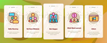 Referral Marketing Onboarding Mobile App Page Screen Vector. Internet And Communication Friend Recommendation, Referral Link And Dollar Coin Illustrations