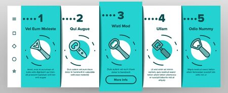 Bottle Opener Onboarding Mobile App Page Screen Vector. Different Style Metal Cap Container Opener, Bar And Kitchen Utensil Illustrations