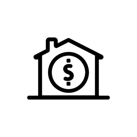 real estate sale icon vector. A thin line sign. Isolated contour symbol illustration Çizim