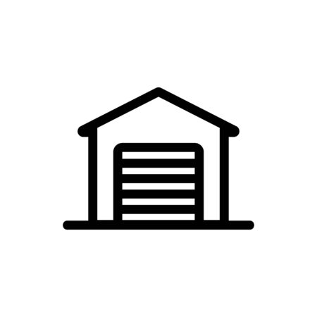 Garage for the car icon vector. A thin line sign. Isolated contour symbol illustration