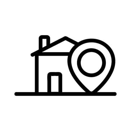 The location of the house is an icon vector. A thin line sign. Isolated contour symbol illustration