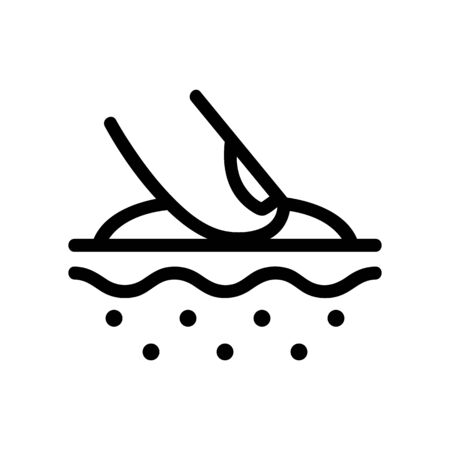 Applying the cream icon to the vector. A thin line sign. Isolated contour symbol illustration