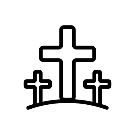 Cemetery icon vector. A thin line sign. Isolated contour symbol illustration