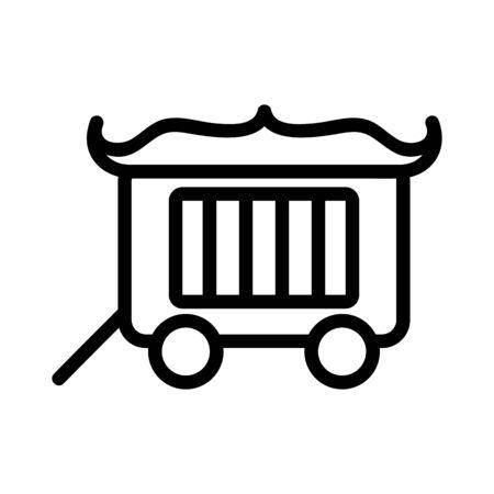 Circus wagon icon vector. A thin line sign. Isolated contour symbol illustration Illusztráció