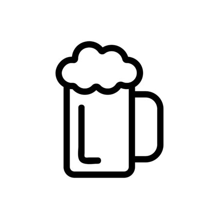 glass with beer icon vector. A thin line sign. Isolated contour symbol illustration
