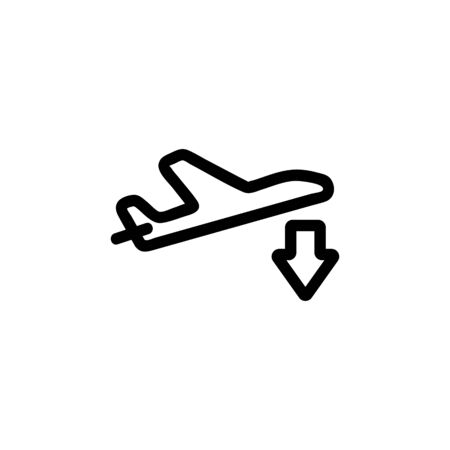 Landing the plane icon vector. A thin line sign. Isolated contour symbol illustration