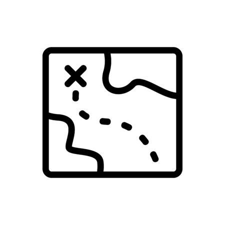 Schatzkarte Symbol Vektor. Ein dünnes Linienzeichen. Isolierte Kontursymbolillustration