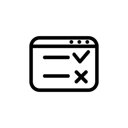 online vector icon questionnaire. A thin line sign. Isolated contour symbol illustration Vector Illustratie