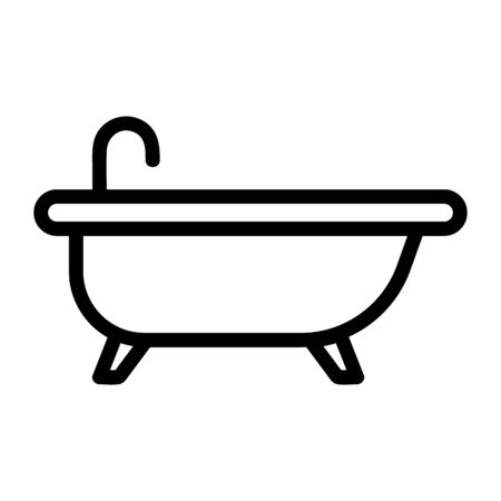 Bath icon vector. A thin line sign. Isolated contour symbol illustration Vectores
