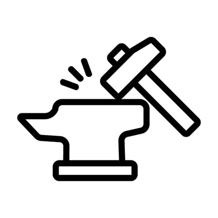 Hammer and anvil icon vector. A thin line sign. Isolated contour symbol illustration Çizim