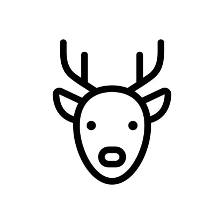 New Year deer icon vector. A thin line sign. Isolated contour symbol illustration