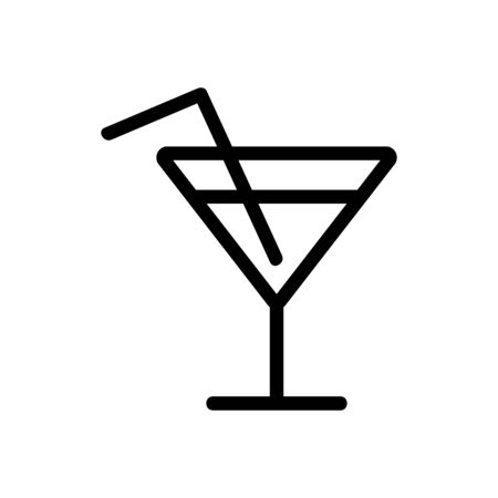 cocktail icon vector. A thin line sign. Isolated contour symbol illustration 向量圖像