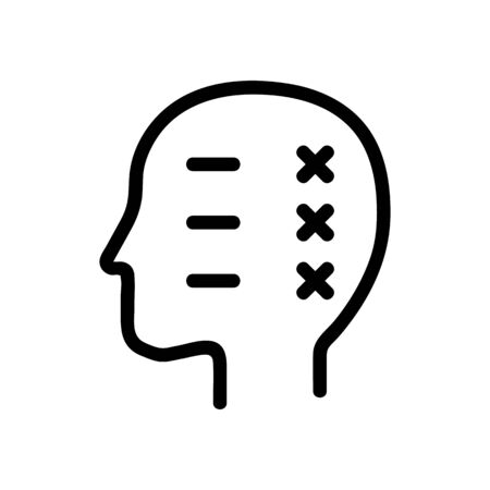the course of thought icon vector. A thin line sign. Isolated contour symbol illustration