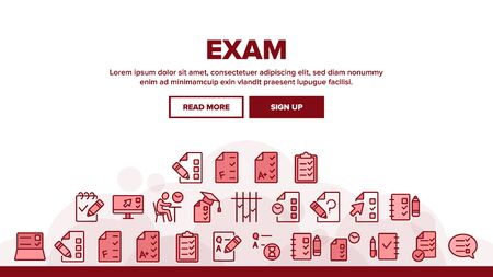 Exam Test Landing Web Page Header Banner Template Vector. Examination Test List And Notebook, Online Education, Question Mark And Pencil Illustration