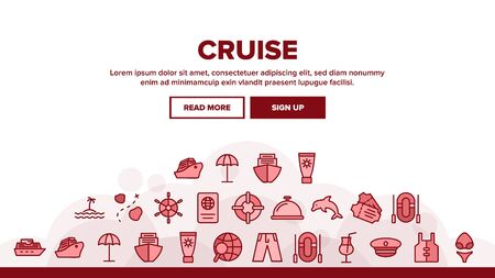 Cruise Travel Landing Web Page Header Banner Template Vector. Cruise Ship And Steering Wheel, Island And Map, Tickets And Cocktail Glass Illustration