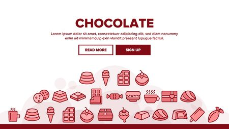 Chocolate Landing Web Page Header Banner Template Vector. Chocolate Cookies And Candy, Ice Cream And Cake, Hot Drink And Cocoa Bean Illustration