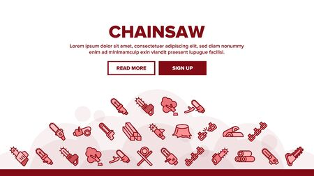 Chainsaw Landing Web Page Header Banner Template Vector. Gasoline Chainsaw Woodworking Industry Equipment, Broken Chain And Firewood Illustration Illustration