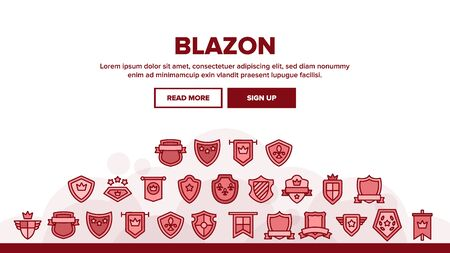Blazon Shield Shapes Landing Web Page Header Banner Template Vector. Medieval And Antique Blazon With Ribbon, Stars And Crown, Blank Kingdom Symbolic Illustration
