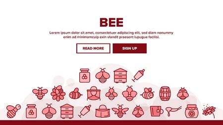 Bee And Honey Landing Web Page Header Banner Template Vector. Bee On Flower, Wooden Barrel And Beekeeper Suit And Equipment, Beekeeping Illustration Illustration