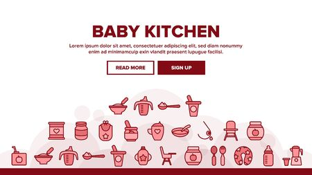 Baby Kitchen Landing Web Page Header Banner Template Vector. Feeding Chair And Bib, Cup And Bowl With Spoon For Baby Eating Equipment Illustration