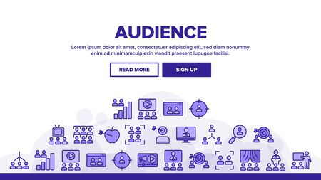 Audience Social Group Landing Web Page Header Banner Template Vector. Human On Computer Screen And Magnifier, Video Player And Web Site Audience Illustration