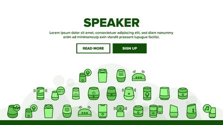 Speaker Assistant Landing Web Page Header Banner Template Vector. Voice Speaker Assistance, Smartphone Connection, Play Music And Discussing Illustration