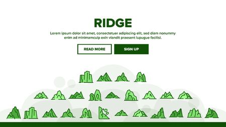 Ridge Different Form Landing Web Page Header Banner Template Vector. Ridge Peak Climbs For Extreme Sport, Adventure And Expedition Illustration 일러스트