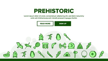 Prehistoric Primitive Landing Web Page Header Banner Template Vector. Bone In Bowl And Chicken Leg, Burning Campfire And Cave, Prehistoric Bludgeon Illustration
