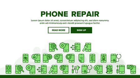 Phone Repair Service Landing Web Page Header Banner Template Vector. Mobile Repair, Equipment For Diagnostic And Fixing Smartphone, Broken Screen Illustration