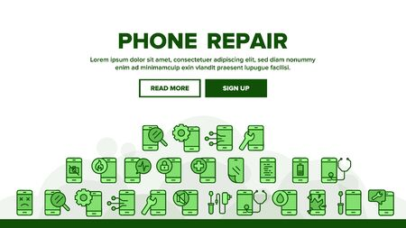 Phone Repair Service Landing Web Page Header Banner Template Vector. Mobile Repair, Equipment For Diagnostic And Fixing Smartphone, Broken Screen Illustration