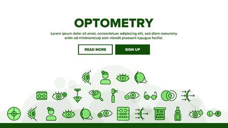 Optometry Eye Health Landing Web Page Header Banner Template Vector. Eyeglasses And Doctor Optometry Oculist, Medical Equipment, Medicine Drops Illustration 일러스트