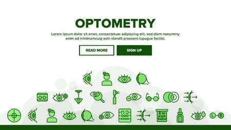 Optometry Eye Health Landing Web Page Header Banner Template Vector. Eyeglasses And Doctor Optometry Oculist, Medical Equipment, Medicine Drops Illustration Illustration