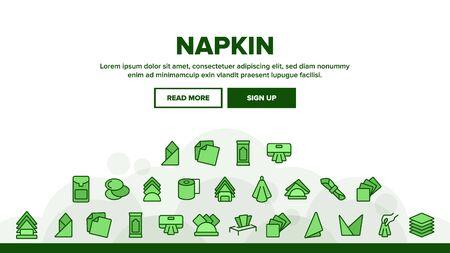Napkin Hygiene Paper Landing Web Page Header Banner Template Vector. Sanitary Antibacterial Napkin For Restroom, Towel For Eater In Restaurant Illustration  イラスト・ベクター素材