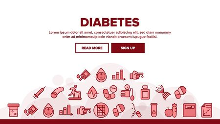 Diabetes Sugar Disease Landing Web Page Header Banner Template Vector. Syringe And Blood Analysis On Diabetes, Man Run And Drink, Pills And Fruits Illustration