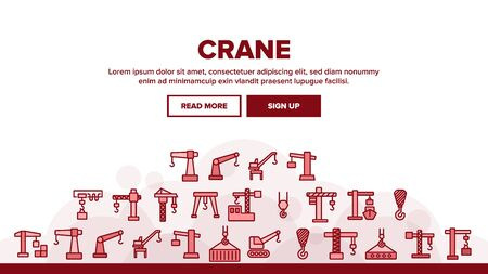 Crane Building Machine Landing Web Page Header Banner Template Vector. Port Crane Bulldozer With Container, Construction Equipment Illustration