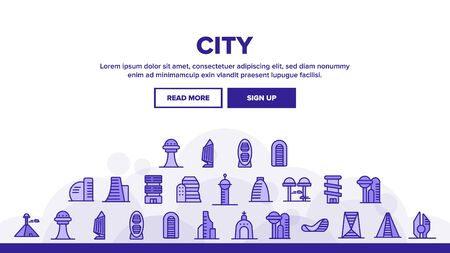 City Modern Building Landing Web Page Header Banner Template Vector. Church And Tower, Skyscraper And Pyramid City Urban Constructions Illustration Illustration