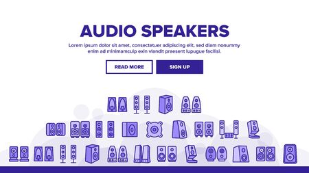 Audio Music Speakers Landing Web Page Header Banner Template Vector. Electronic Acoustic Audio Sound Speakers System And Loudspeakers Illustration Illustration