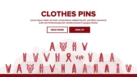 Clothes Pins Fasteners Landing Web Page Header Banner Template Vector. Wooden And Plastic Clothes Pins Housework Equipment, Clothespins On Cable Rope Illustration