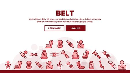 Belt Safety Equipment Landing Web Page Header Banner Template Vector. Driver Strapped Car Seat Belt, Protection Automobile Device, Baby Chair Illustration