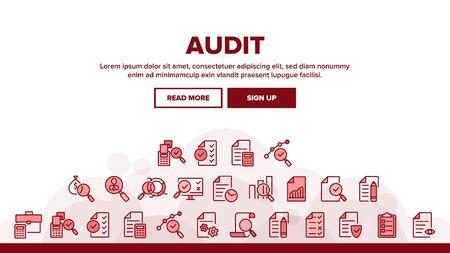 Audit Finance Report Landing Web Page Header Banner Template Vector. Financial Audit Document File, Bag With Money, Calculator And Cash Register Illustration 일러스트