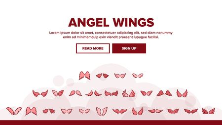 Angel Wings Flying Landing Web Page Header Banner Template Vector. Decorative Stylized Feather Flapping Angel Or Bird Flight Wings Illustration Illustration