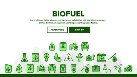Biofuel Eco Energy Landing Web Page Header Banner Template Vector. Rechargeable Battery Power, Electric Biofuel Car And Recycling Light Bulb Illustration