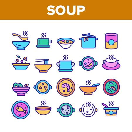 Soup Different Recipe Collection Icons Set Vector Thin Line. Delicious Soup With Vegetables And Mushrooms, With Fish And Shrimps Concept Linear Pictograms. Color Illustrations