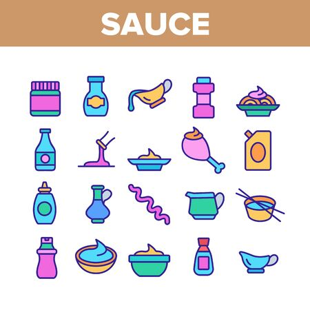 Sauce Spicy Cream Collection Icons Set Vector Thin Line. Ketchup, Mustard And Olive Oil Bottles And Containers, On Chicken Leg Concept Linear Pictograms. Color Illustrations