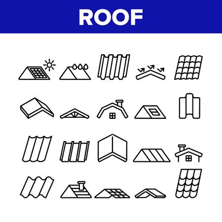 Roof Construction Collection Icons Set Vector Thin Line. Sun Solar Battery On House Roof, Metallic And Tile Roofing Material On Building Top Concept Linear Pictograms. Monochrome Contour Illustrations