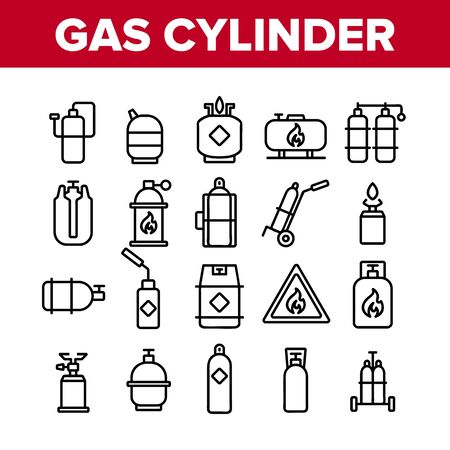 Gas Cylinder Equipment Collection Icons Set Vector Thin Line. Gas Cylinder, Container With Flame Mark, Burner Canister With Burn Concept Linear Pictograms. Monochrome Contour Illustrations 일러스트