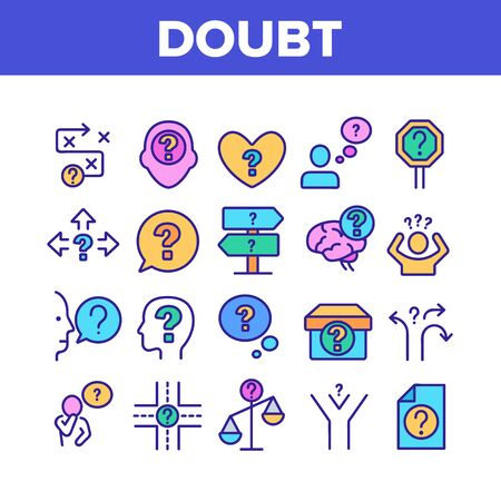 Doubt And Confusion Collection Icons Set Vector Thin Line. Doubt Human And Brain, Question Mark In Quote Frame And On Box Concept Linear Pictograms. Color Illustrations Illustration