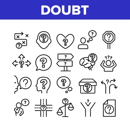 Doubt And Confusion Collection Icons Set Vector Thin Line. Doubt Human And Brain, Question Mark In Quote Frame And On Box Concept Linear Pictograms. Monochrome Contour Illustrations