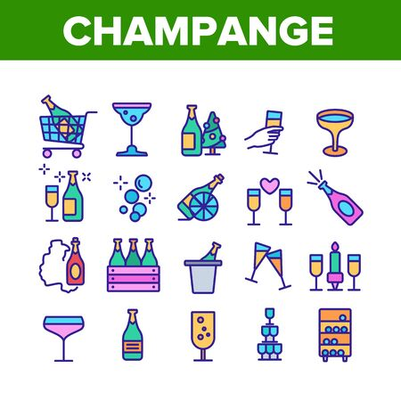 Champagne Beverage Collection Icons Set Vector Thin Line. Bottle Champagne In Bucket And Box, Glasses With Alcoholic Drink Concept Linear Pictograms. Color Illustrations Illustration